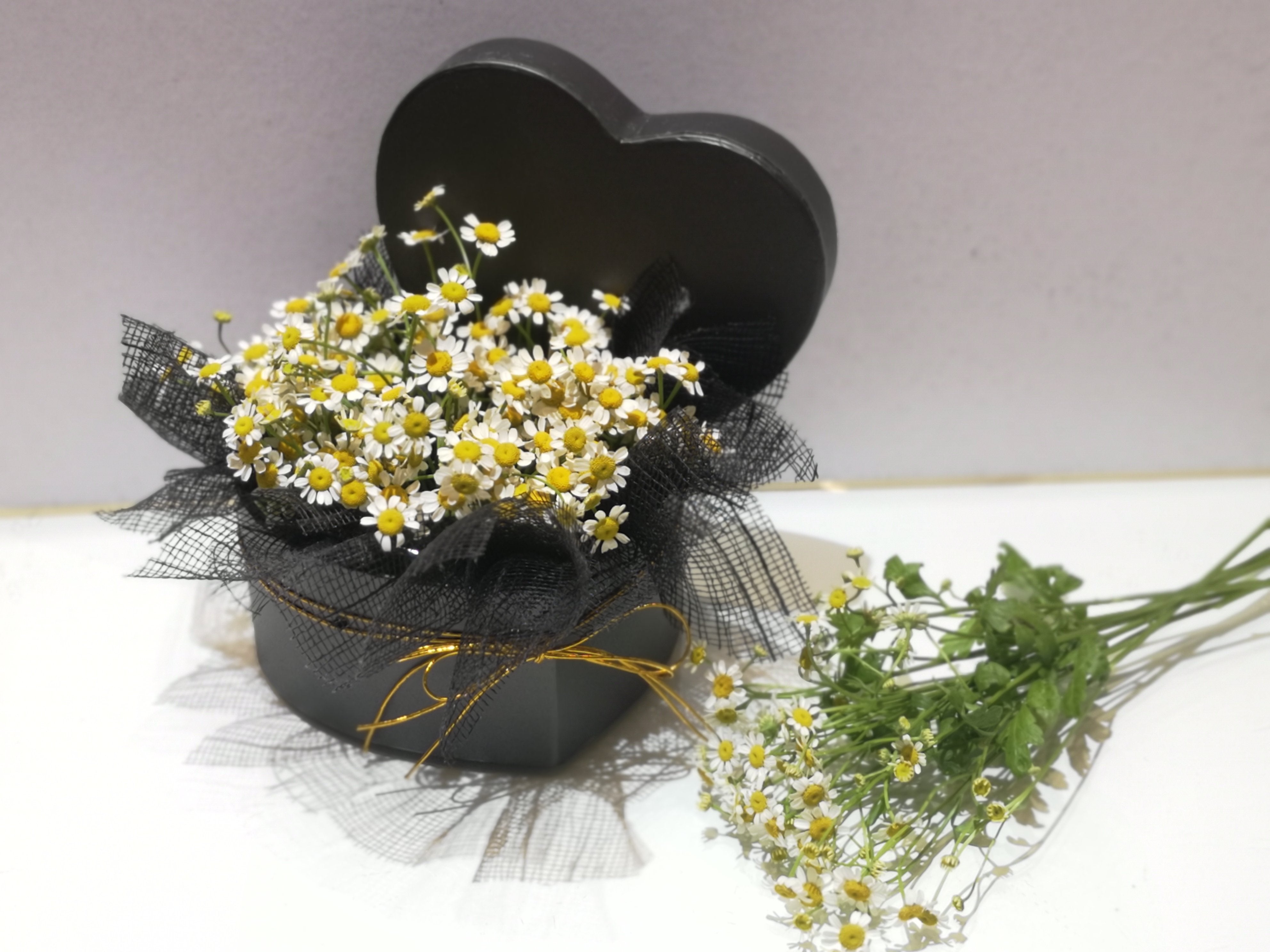 Love Shape Chamomile Flower Box | August Flower Heart Shape Box