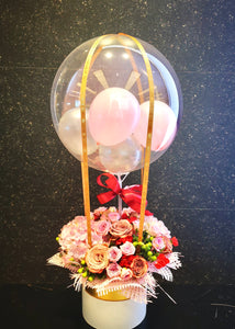 Cappuccino Rose Flower Box & Balloon