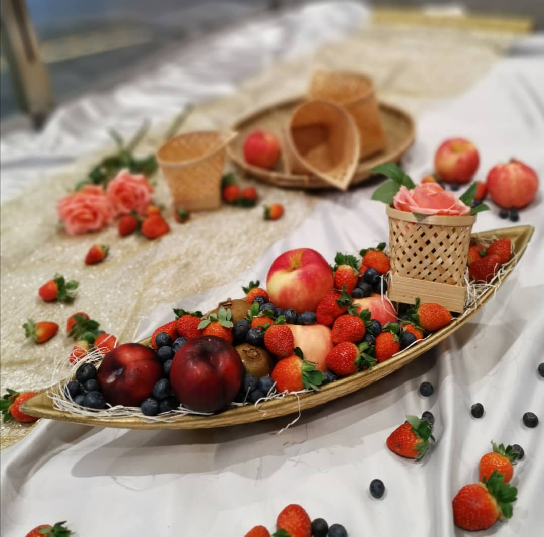 Fresh Fruits Platter On Golden Boat (Limited Edition)