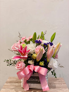 Pink Lily Flower Basket | October Flower Basket
