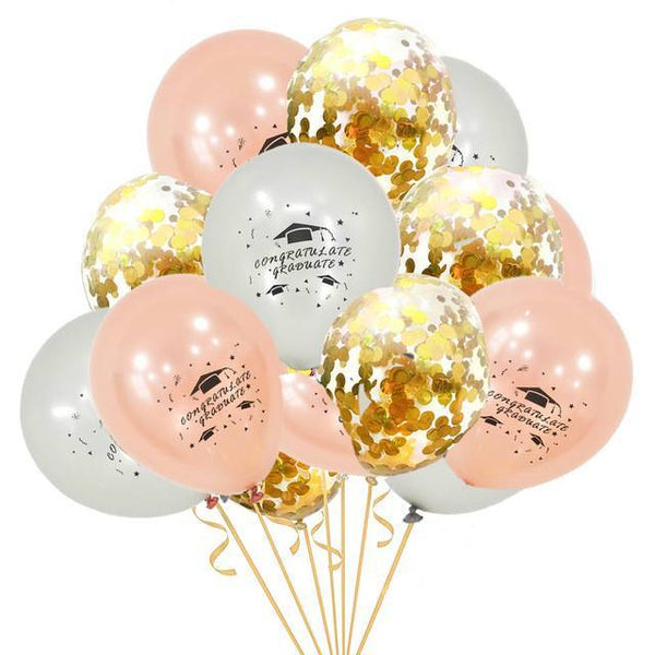 Printed Graduation Latex & Confetti Balloons  Rose Gold, Silver & Gold - spreeparty