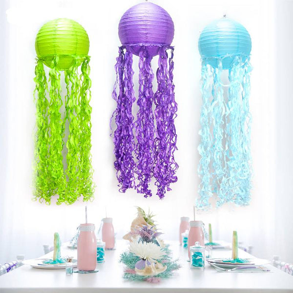 Jelly Fish Lanterns Kit Green Purple Blue - spreeparty