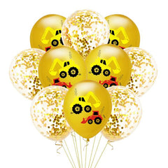 Construction Vehicle Excavator Latex Balloon Yellow & Gold