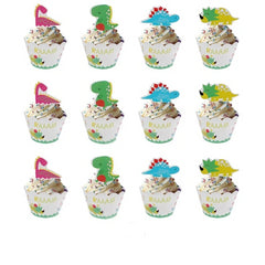 Cartoon Green Dinosaur Cake Wrappers