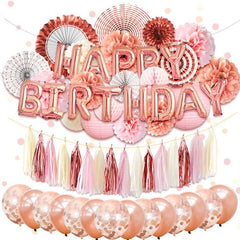 Happy Birthday Party Decorations Kit Rose Gold