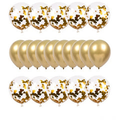 Gold latex & Confetti Balloons kit