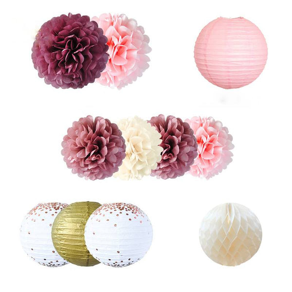 Wedding Birthday Party Decoration  Paper Honeycomb Ball Lantern  Flower PomPom Pink & Gold - spreeparty