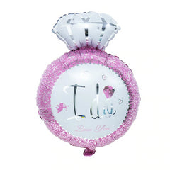 Wedding Diamond I Do Ring Pink Balloon