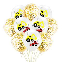 Construction Vehicle Excavator Latex Balloon White & Gold
