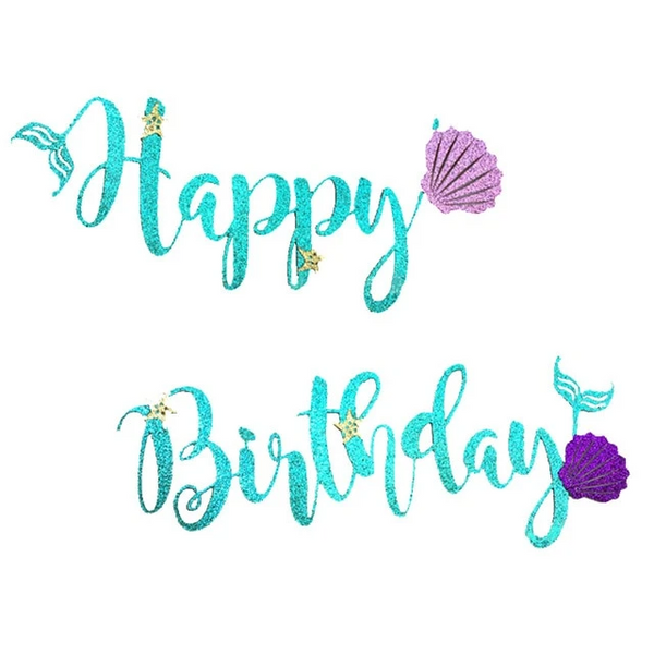 Mermaid Happy Birthday Banner - spreeparty