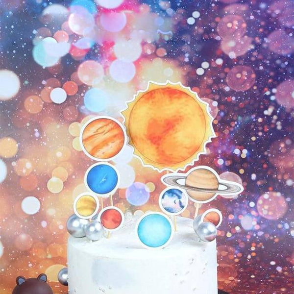 Solar System Outer Space Galaxy Cake Topper - spreeparty