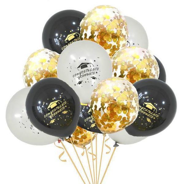 Printed Graduation Latex & Confetti Balloons Black ,  Silver & Gold - spreeparty