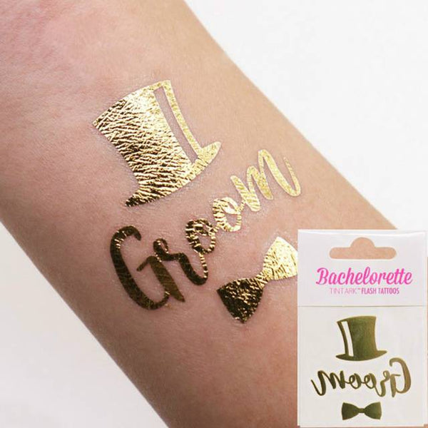 Groom  Bridal To Be Gold Tattoo - spreeparty