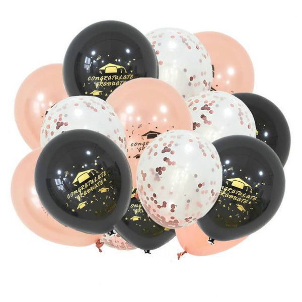 Printed Graduation Latex & Confetti Balloons Black, Rose Gold & Champagne - spreeparty