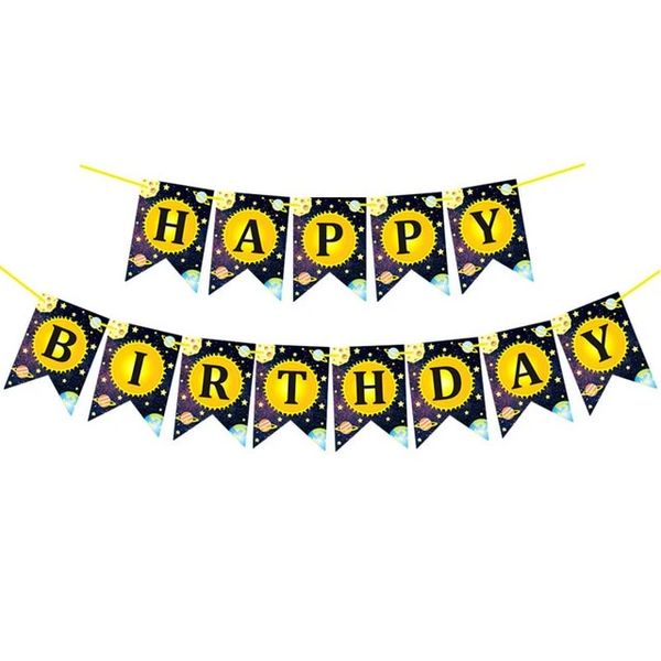 Solar System Outer Space Happy Birthday Banner - spreeparty