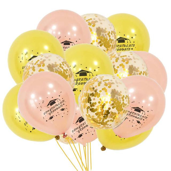 Printed Graduation Latex & Confetti Balloons Gold &  Rose Gold - spreeparty