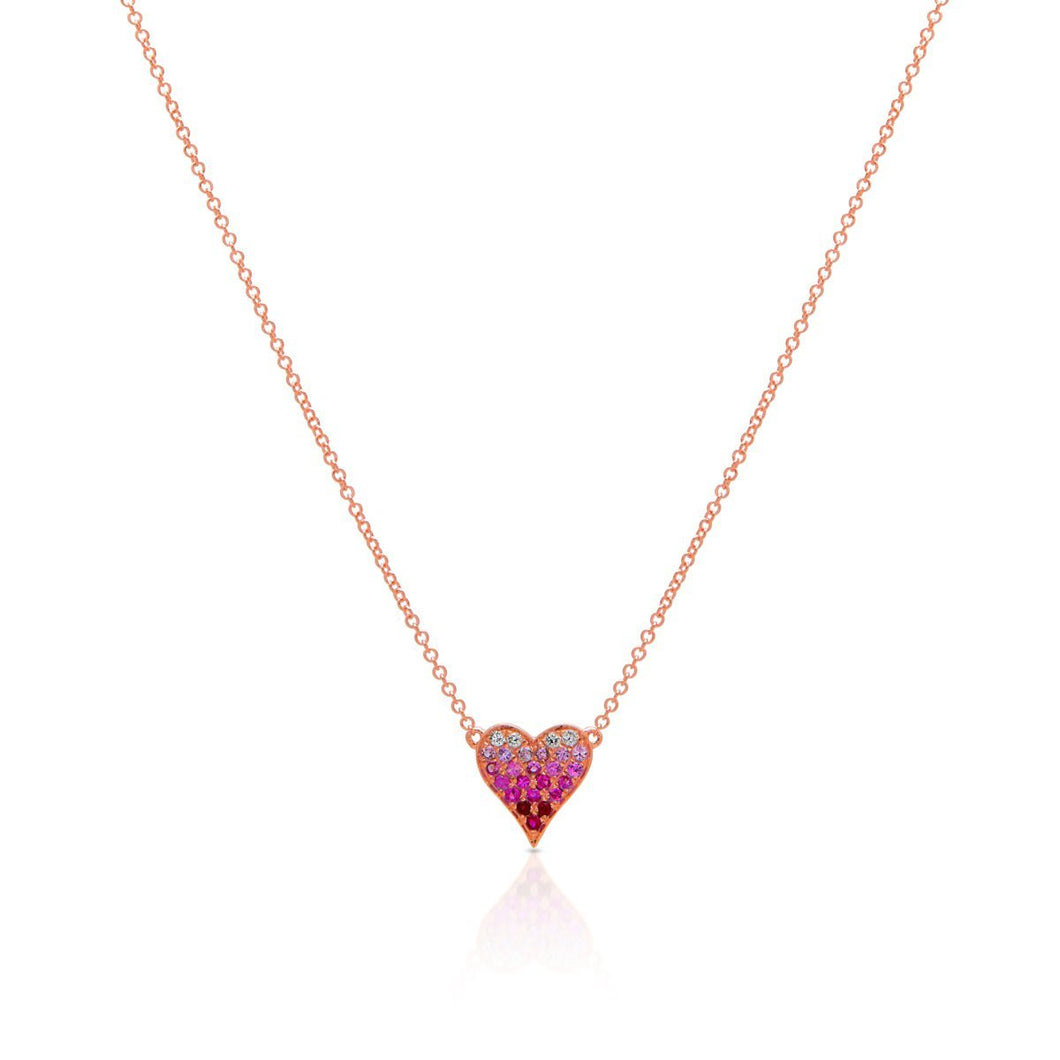Mini Pink Ombre Heart Necklace