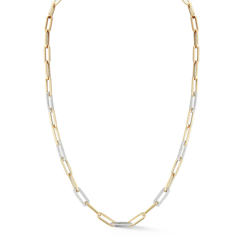 Seven Diamond Station Link Necklace