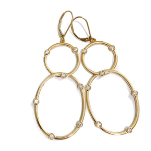 Double Hoop Bezel Earrings