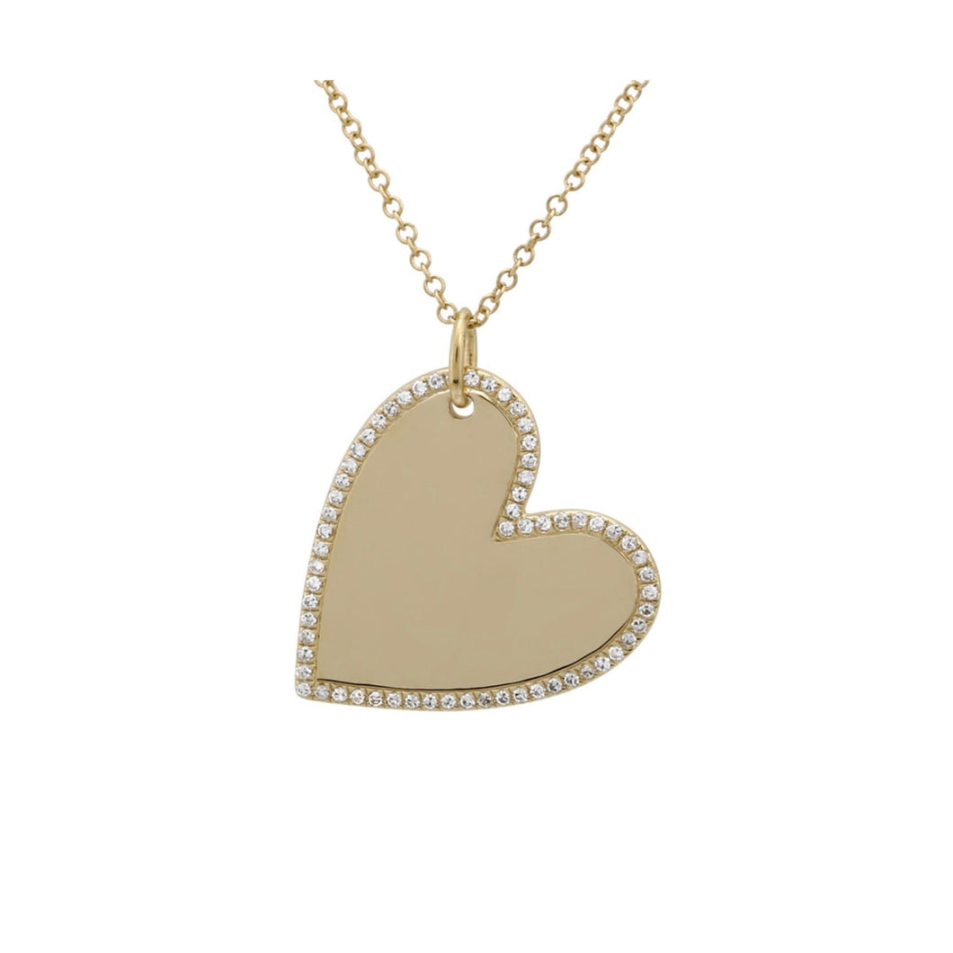 Heart with Pave Outline Necklace