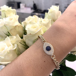 Evil Eye on Cuban Chain Bracelet