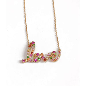 Rainbow Script Love Necklace