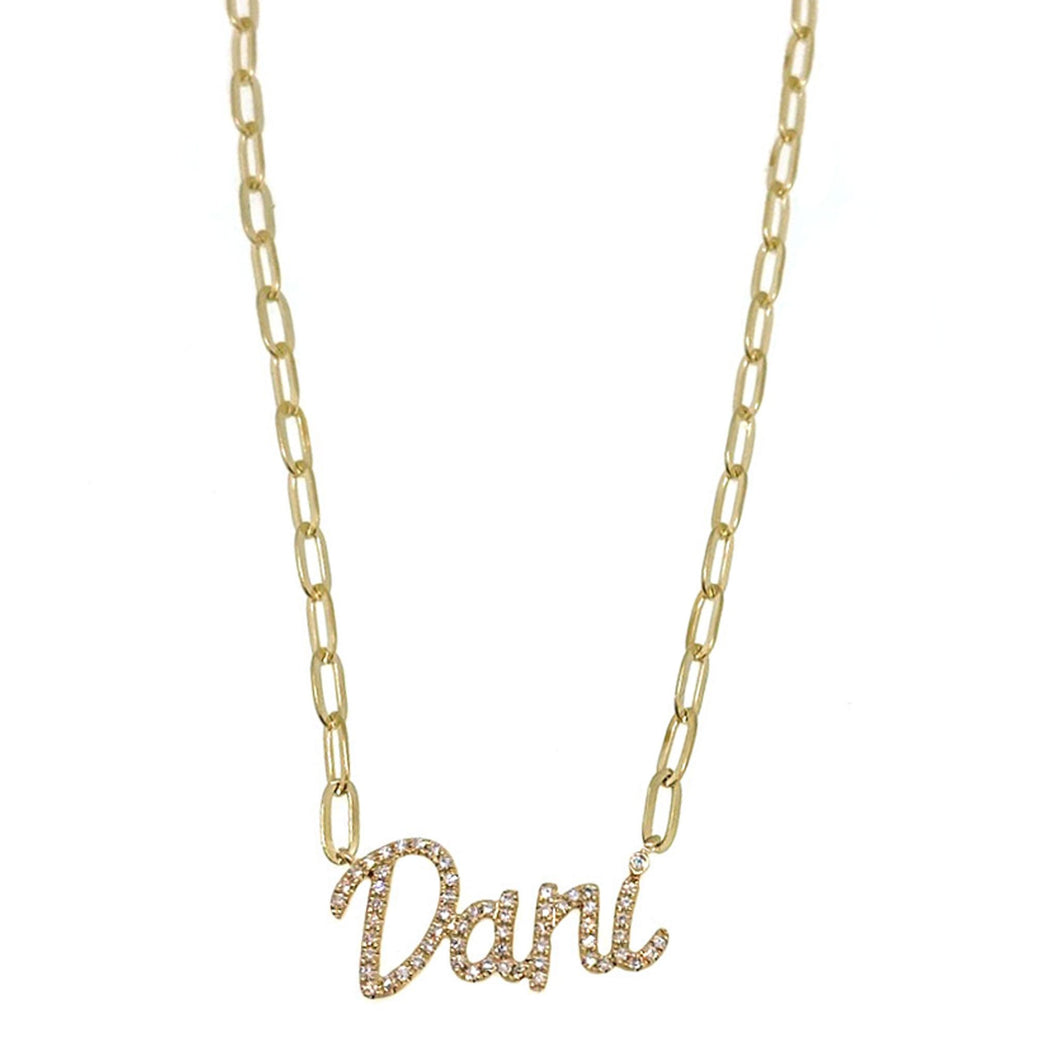 Diamond Script Name Necklace on Link Chain