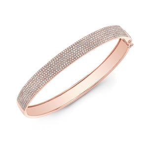 Six Row Pave Diamond Bangle
