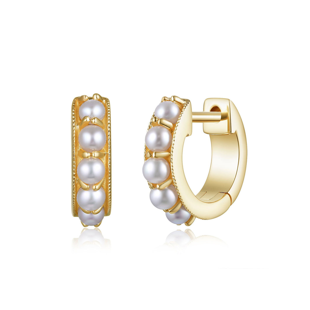 Mini Pearl Huggie Earrings