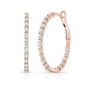 Alernating Size Diamond Hoops