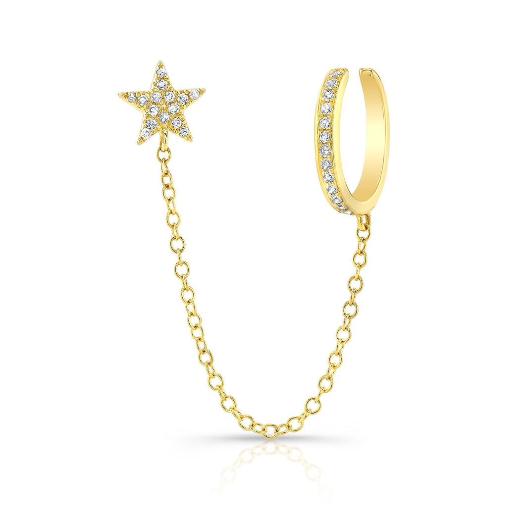 Pave Star Stud with Chain and Gold Cuff