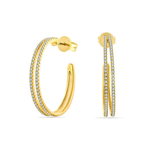 Double Row Large Hoop Earrings
