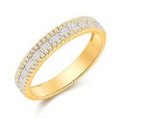 Baguette and Pave Diamond Ring