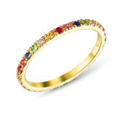 Pave Rainbow Band Ring