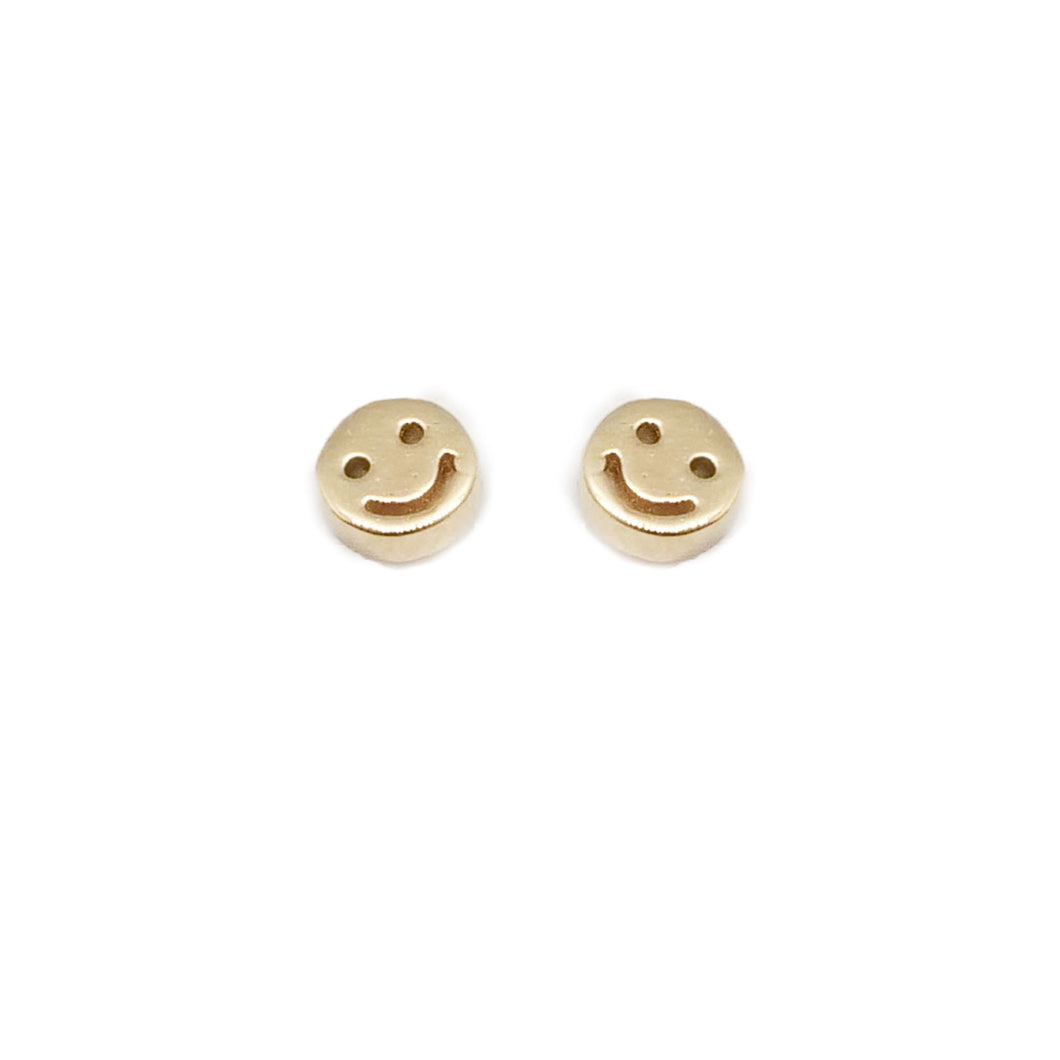 Mini Gold Smiley Stud