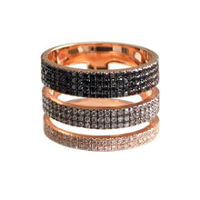 Load image into Gallery viewer, Triple Layer Multi Row Black and Diamond Ring