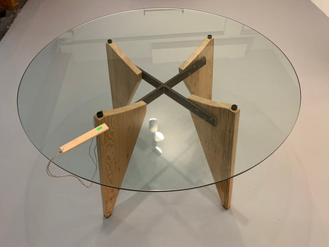 Fir, Steel and Glass Dining Table