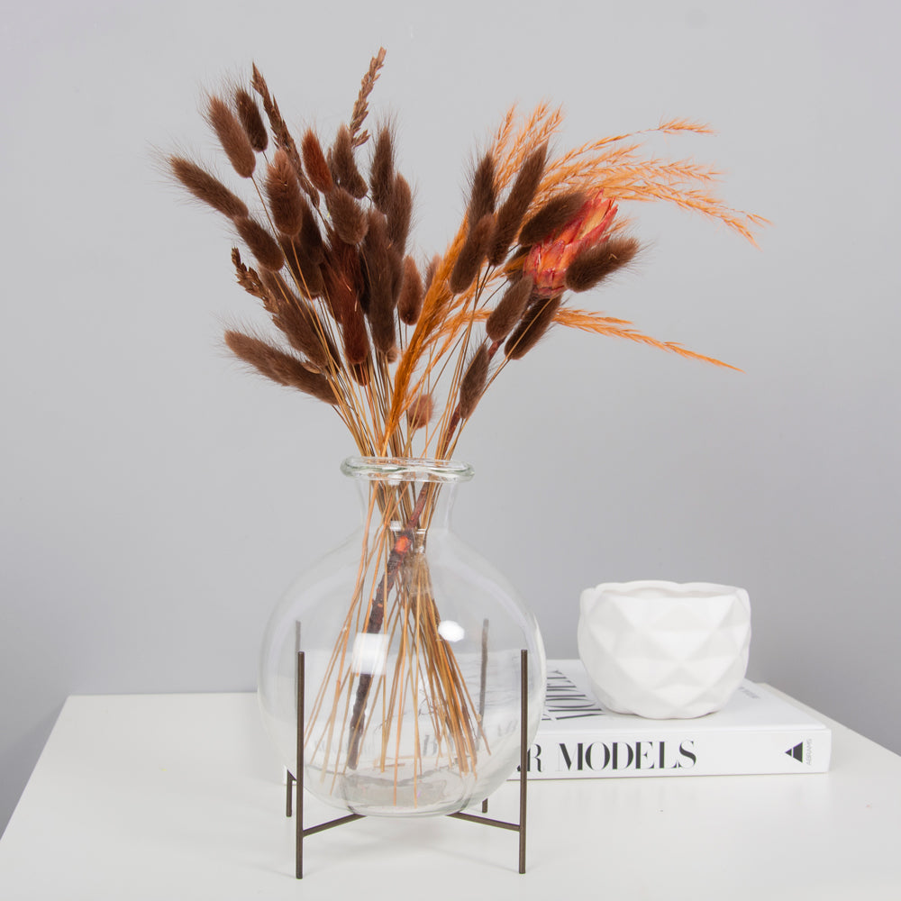 Autumn Haze Posy - Amber & Chocolate Bunny Tails, stipa feather grass & protea