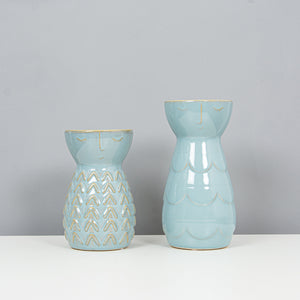 Vase Eve Face Ceramic Greyish Blue - S