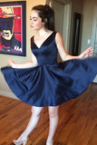 Simple Dark Navy Homecoming Dresses V-neck Satin Short Prom Dress GM71
