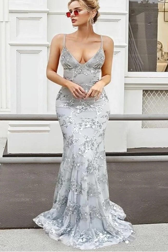 Spaghetti Straps Mermaid Tulle Sequined Backless Prom Dress MP993
