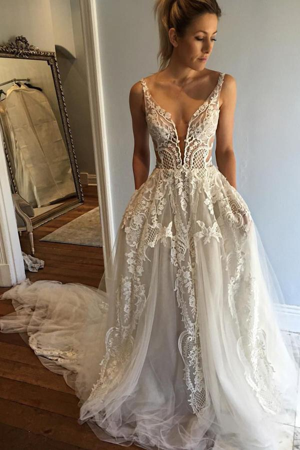 A-line Deep V-Neck Lace Appliques Wedding Dresses with Pockets PW202