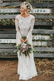 Bohemian Bateau Long Sleeves Backless Lace Wedding Dresses PW200