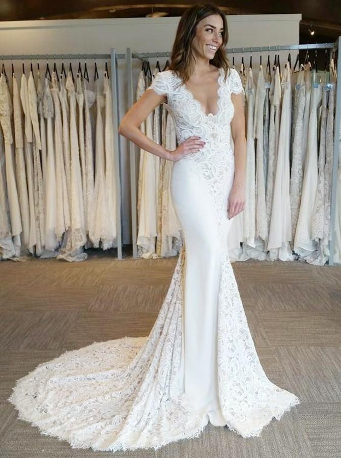 Mermaid V-Neck Backless Bridal Gown Lace Short Sleeves Wedding Dress PW193