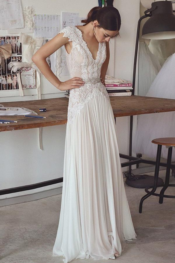 A-Line V-Neck Chiffon Lace Backless Wedding Dress with Beading PW190
