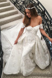 Mermaid Lace Appliques Off-the-Shoulder Wedding Dress with Detachable Train PW185
