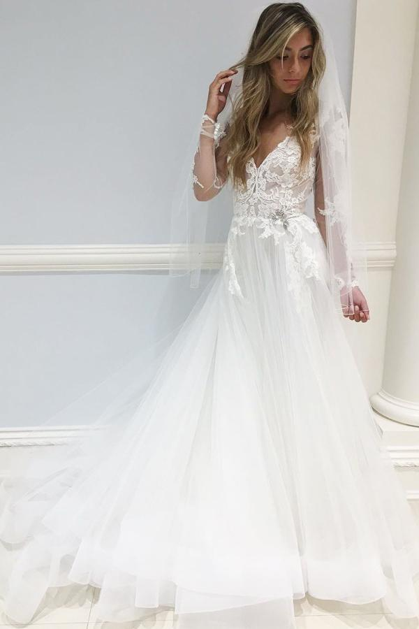 A-Line V-Neck Tulle Long Sleeves Wedding Dress with Appliques PW186