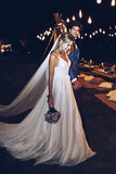 Tulle Appliques Garden Spaghetti Wedding Dresses with Sweep Train PW187
