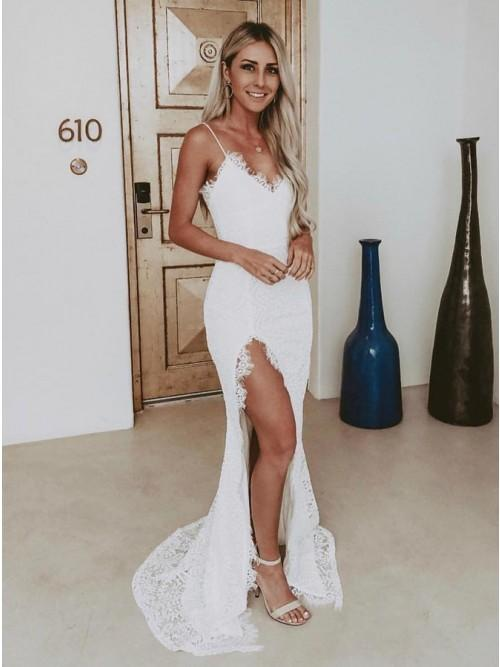 Spaghetti Straps Sweep Train Mermaid Lace Wedding Dress with Split PW40