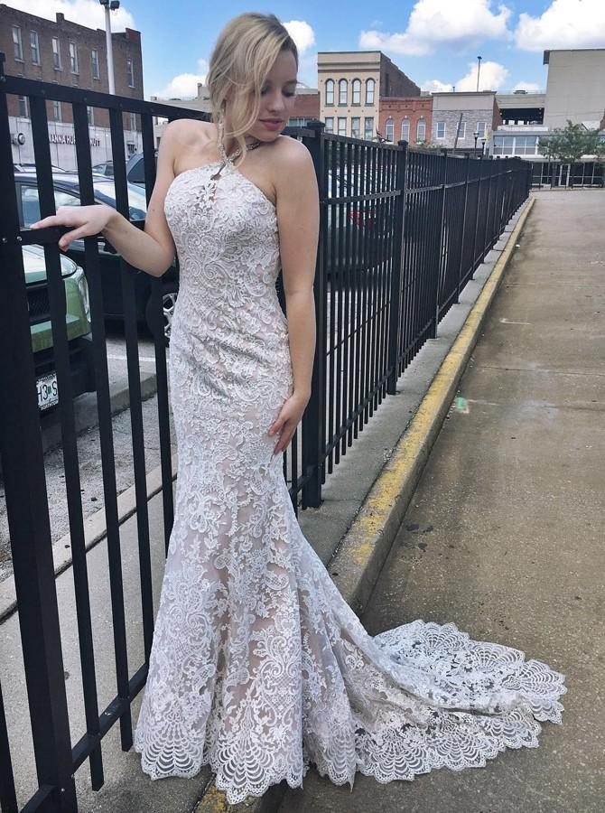 Halter Lace Mermaid Wedding Dresses with Beading, Lace Bridal Gown PW44
